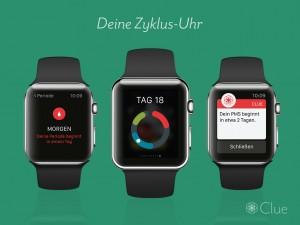 Die Zyklus- und Fruchtbarkeits-App Clue auf der Apple Watch. Die App Clue hat mehr als zwei Millionen Nutzerinnen in über 180 Ländern. Clue ist ein weiblich geführtes Start-up mit Sitz in Berlin. Das Unternehmen wurde 2013 gegründet. Foto: Clue.